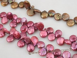 coin_15 12mm dye color side-dirlled coin pearl strands for wholesale