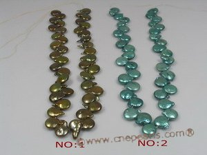 coin_16 wholesale 12mm dye color side-dirlled coin pearl strands