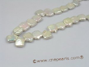 coin_17 wholesale 10mm white square side-dirlled coin pearl strands