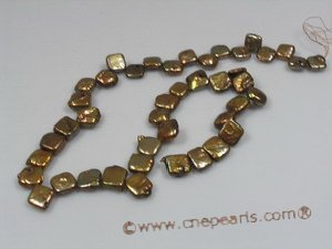 coin_19 10mm coffee square side-dirlled coin pearl strands in wholesale