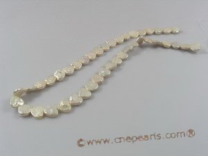 coin_20 10-11mm white heart shape coin pearl strands for wholesale