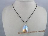 CP002  20*38mm tear-drop shaped Austria crystal pendant with sterling mounting