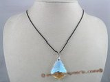 CP004  26*38mm tear drop shaped Austria crystal pendant with sterling mounting
