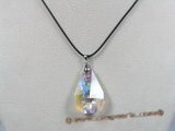 CP017  34*38mm tear-drop faceted Austria crystal pendant with sterling enhancer mounting