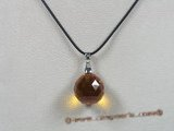 CP019 19mm round faceted Austria crystal pendant with sterling enhancer mounting