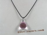 CP020 19mm pink round faceted Austria crystal pendant with sterling enhancer mounting