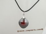 CP021 Wine red faceted round Austria crystal 925silver enhancer pendant