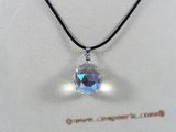 CP022 sterling white faceted round Austria crystal enhancer pendant