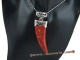 cpd008 Hand worked 30*70mm red coral pendant in horn design