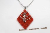 Cpd011 Hand Wrapped 45*62mm Rhombus Red Coral Pendant Necklace