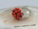 cr001 5mm round red coral ring with adjustable 18KGP mounting