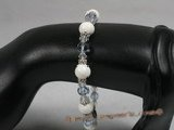 crbr017 round deep sea tridancna with faceted crystal beads beach bracelet