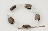 Gbr030 Fashion smoking quartz and moon stone stretch bracelet