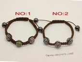 crbr033 Designer crystal ball bead bracelet knoted with cord thread