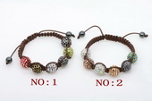 crbr037 Different color crystal ball bead bracelet knoted with cord thread