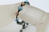 crbr044 Multi-color Rhinestones Ball Shamballa Bracelet with Hematite