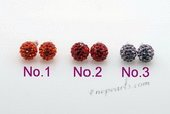 Cre023 Wholesale Shamballa Stud Earrings in Sterling Silver