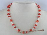 crn001 8mm red crystal handmade necklace with red coral beads