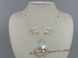 crn021 Delicate heart -shape Austria crystal necklace in sterling chain