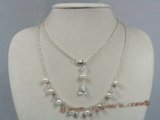 crn024 cultured pearl with Austria crystal opera necklace in sterling chain