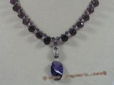 crn025 Purple faceted chinese crystal necklace with silver beads