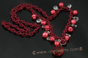 Hand wired wine red whorl potato parl and crystal rolo cord necklace crn033 cord necklace jewelry Cnepearls Ltd