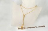 crn039 Colorful  freshwaer pearl & crystal silk cord long lariat necklace