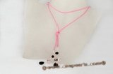 crn042 Hand made Rose quartz and crystal long cord lariat necklace