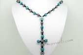 Crn068 Fashion Blue Cross shambala inspired Necklace