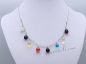Crn078 Shining Hand Warpped Colorful Drop Crystal Princess Necklace