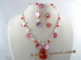 CRNSET006 red crystal necklace earring set with mother of pearl  and seed pearl
