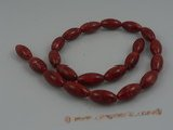 cs005  10*18mm olivary red coral strands wholesale, 16""