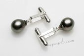 cufflink010 Sterling Silver Cufflinks with 9-10mm AA Baroque Tahitian Pearl