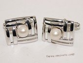 cufflink022 Sterling Silver  Cufflinks 7-8mm White Freshwater Round Pearls