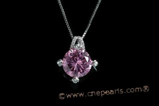 CZP001 Antique Style  CZ Round Sterling Silver Pendant