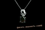 CZP002 Inspired CZ Oval Sterling Silver Pendant