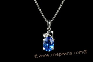 CZP003 925 Sterling Silver  CZ Oval  Pendant
