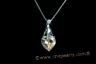 CZP009 Romantic  CZ  heart Sterling Silver Pendant