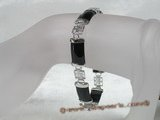 gbr011 Fancy Sterling Silver chineselink black agate bracelet