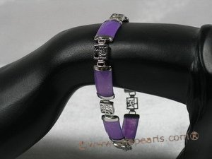 gbr013 Fancy Sterling Silver chineselink purple jade bracelet