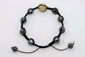 Gbr047 Faceted Tungsten Steel Stone Cord Bracelet with Crystal Ball