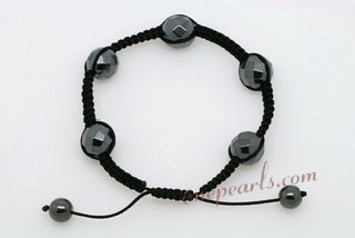 Gbr048 Large Faceted Tungsten Steel Stone Cord Bracelet Wholesale