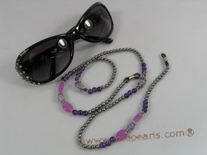 GCH003 Elegant black shell pearl& amethyst Beaded Eyeglass holders onsale