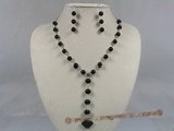 gnset001 8mm black agate beads Y Style gem stone necklace earrings set