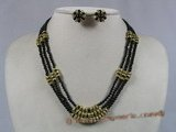 gnset003 3mm black seed agate beads triple strands rope necklace