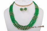 gnset004 6mm round green jade triple strands rope necklace earrings set