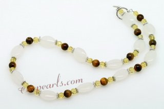 gnset018 Fashion gemstone necklace jewelry set in natural hues