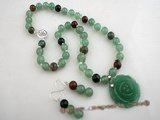 gnset021 single strand 8mm round jasper and pendant necklace in wholesale