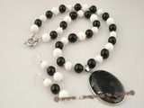 gnset022 White round  deep sea tridacna beads and black agate jewelry set