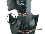 gnset042 New style Black rubber cord Sand stone necklace jewelry set for christmas